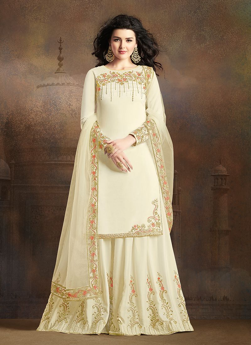 Cream Embroidered Designer Palazzo Suit