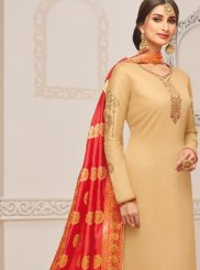 Cream Embroidered Festival Churidar Salwar Suit