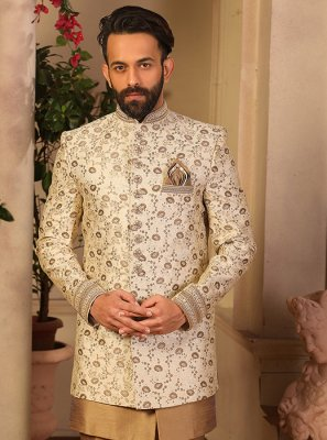 Cream Embroidered Jacquard Silk Indo Western