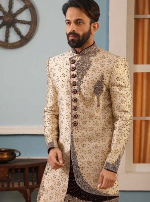 Cream Embroidered Jacquard Silk Sherwani