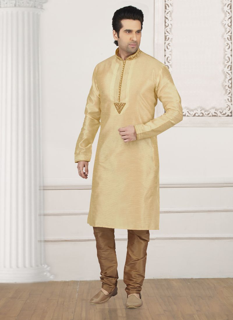 Cream Embroidered Kurta Pyjama