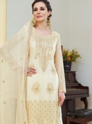 Cream Embroidered Organza Designer Palazzo Salwar Suit
