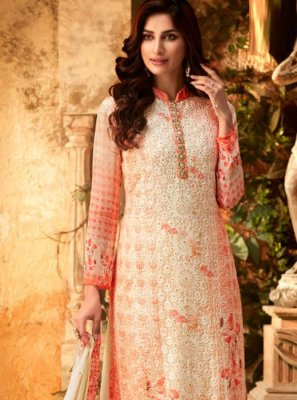 Cream Embroidered Party Designer Palazzo Salwar Kameez