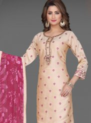 Cream Embroidered Readymade Suit