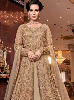 Cream Embroidered Reception A Line Lehenga Choli