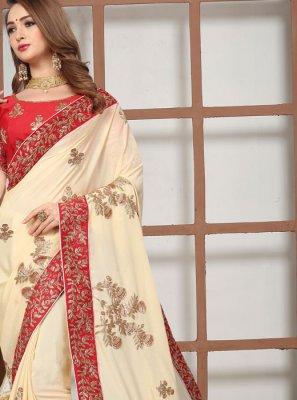 Cream Embroidered Satin Classic Saree