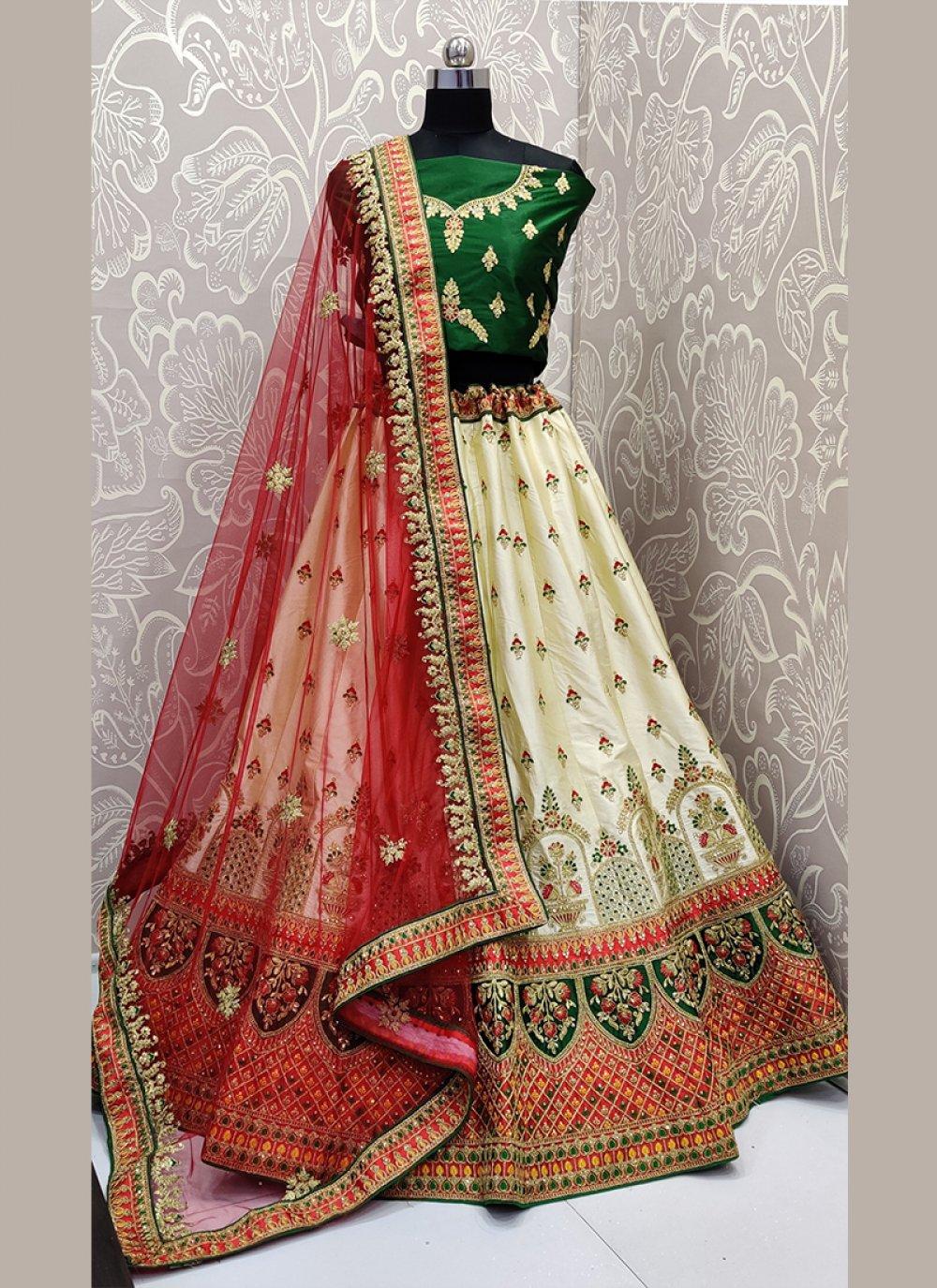 Cream Embroidered Satin Silk Designer Lehenga Saree