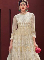 Cream Embroidered Trendy Gown