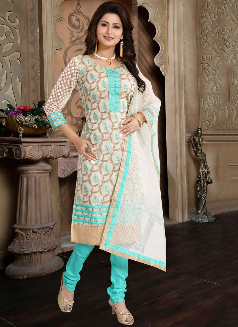 Cream Fancy Banglori Silk Churidar Designer Suit