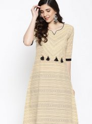 Cream Fancy Casual Kurti
