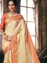 Cream Fancy Fabric Designer Traditional Saree