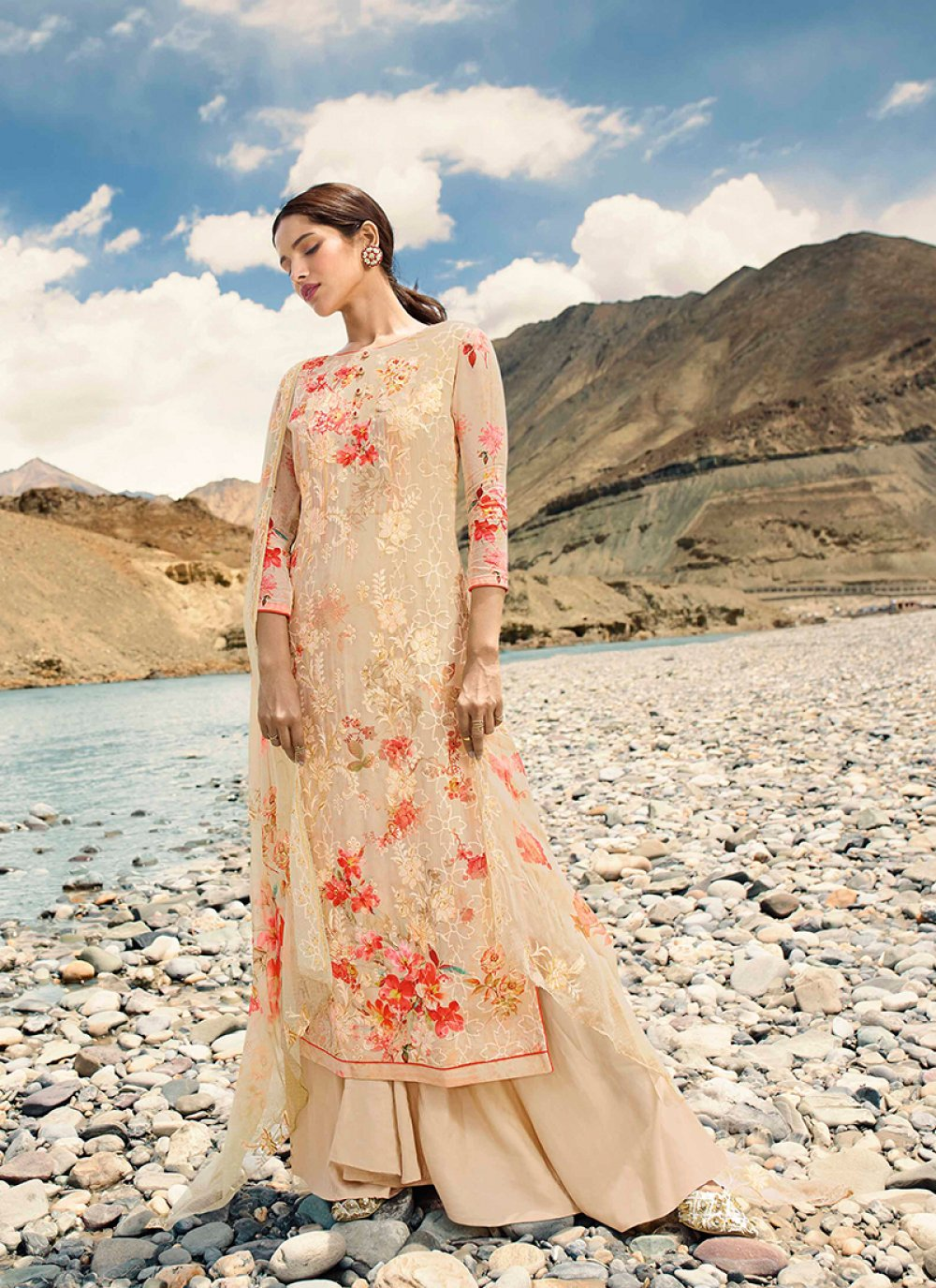 Cream Faux Georgette Festival Designer Pakistani Suit