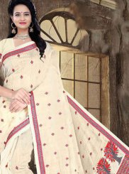 Cream Festival Printed Saree