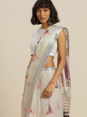 Cream Festival Silk Casual Saree
