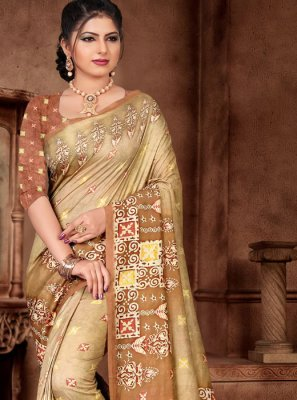 Cream Festival Traditional Saree