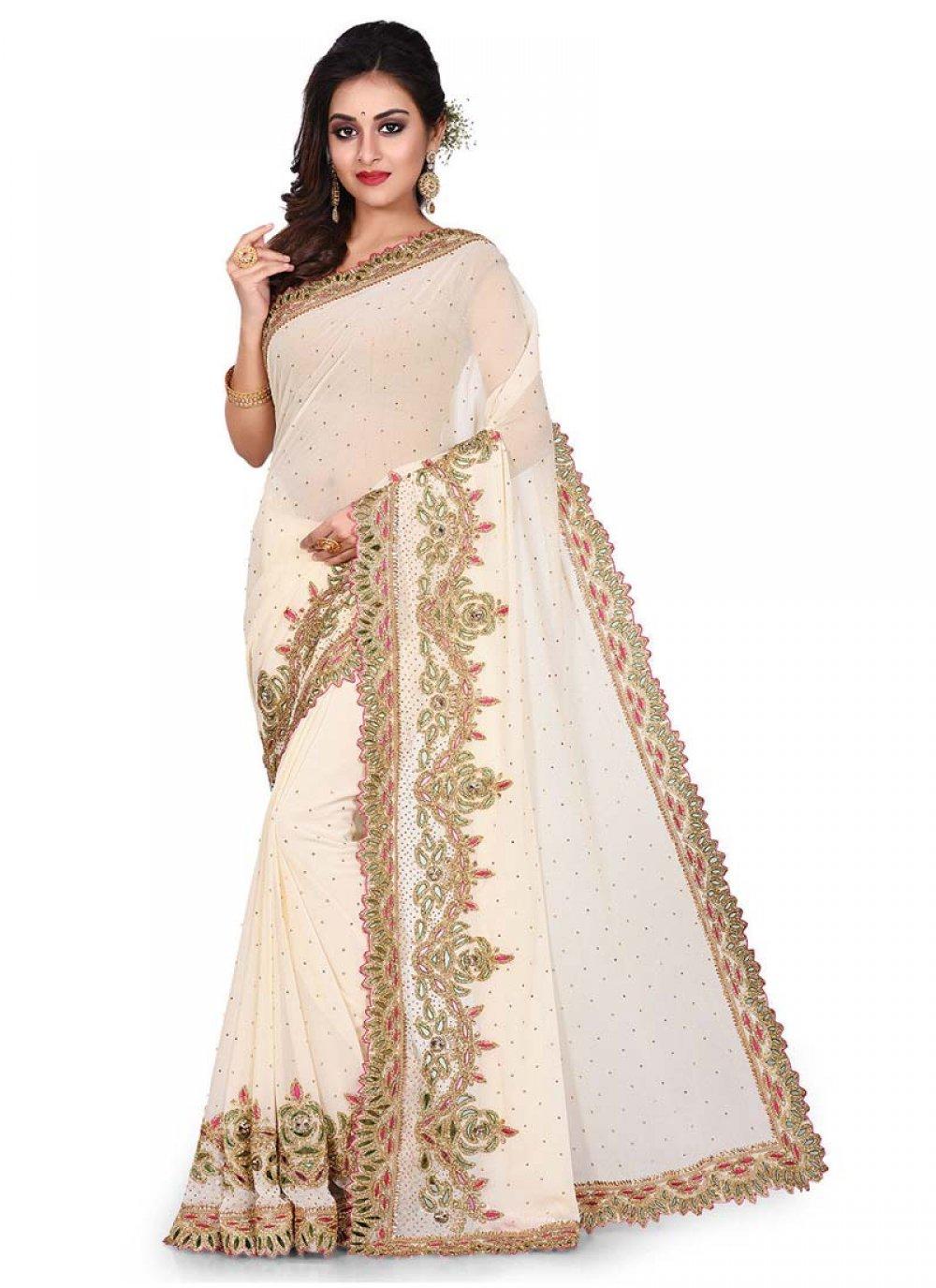 Cream Georgette Embroidered Designer Traditional Saree