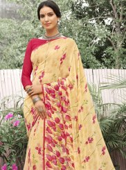 Cream Georgette Printed Casual Saree