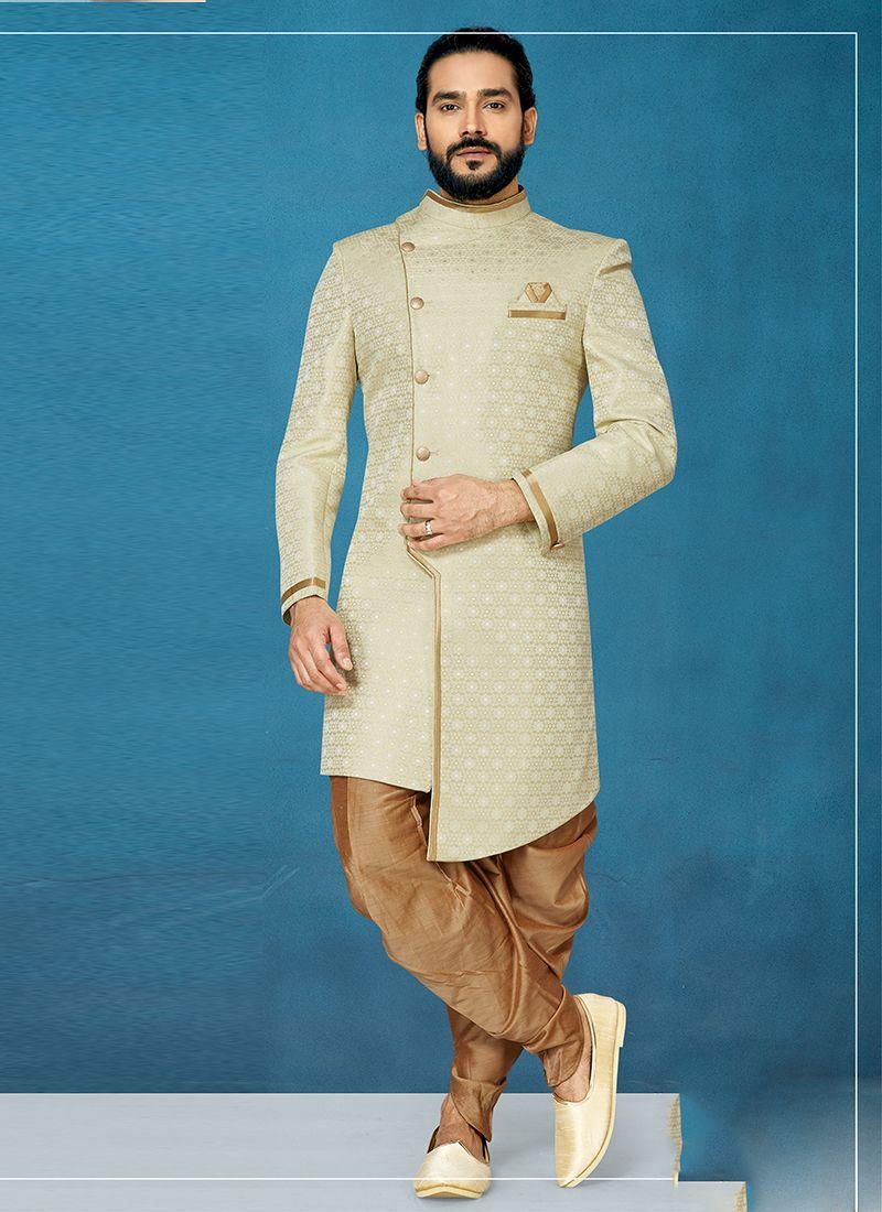 Cream Jacquard Silk Embroidered Indo Western