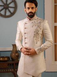 Cream Jacquard Silk Embroidered Sherwani