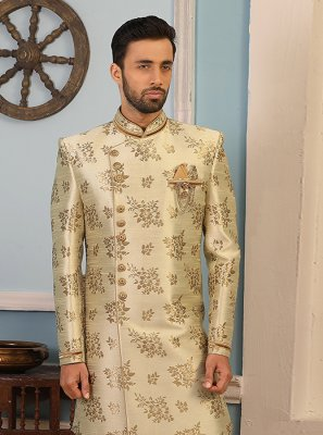 Cream Jacquard Silk Wedding Indo Western