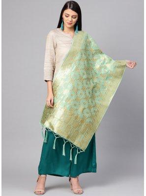 Cream Machine Embroidery  Art Banarasi Silk Designer Dupatta