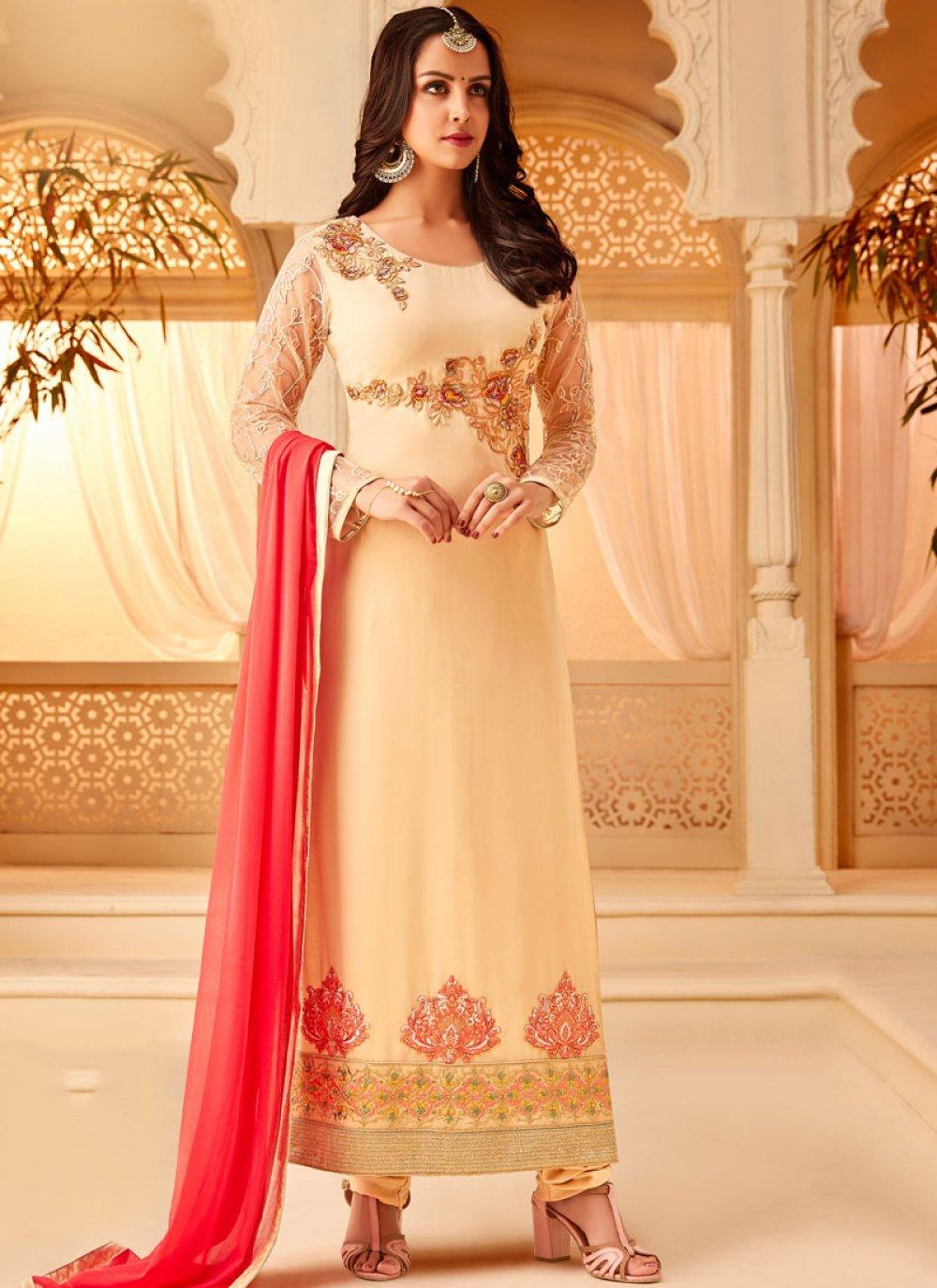 Cream Mehndi Designer Straight Salwar Kameez