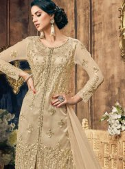 Cream Mehndi Net Designer Pakistani Suit