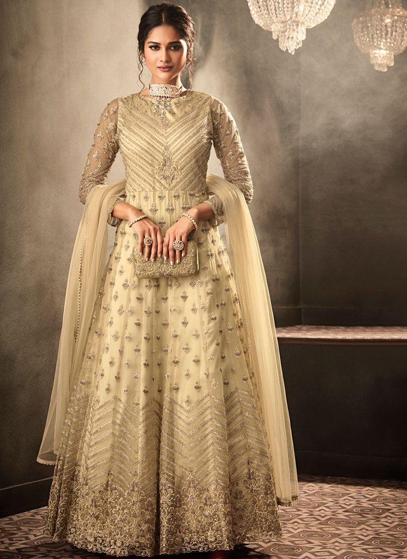 Cream Net Anarkali Salwar Suit