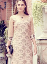 Cream Organza Embroidered Party Wear Kurti