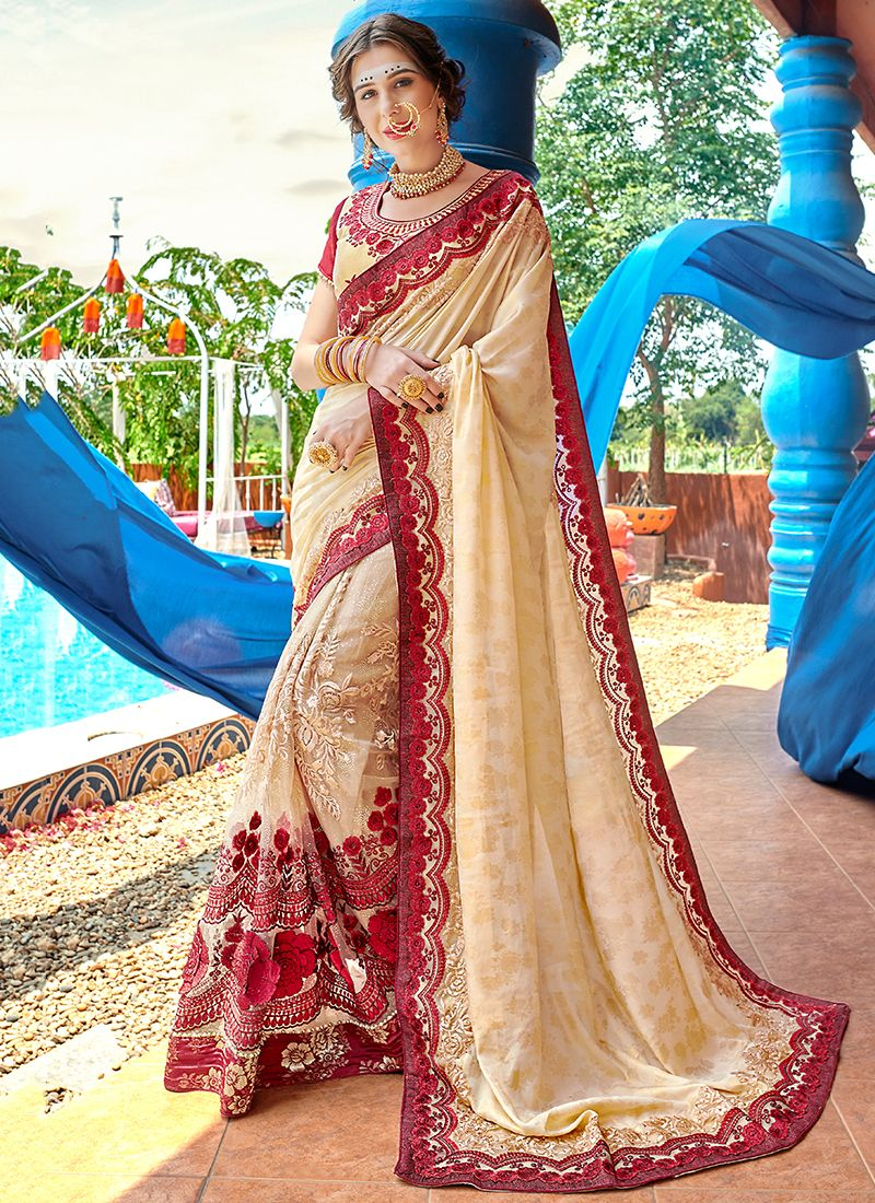 Cream Patch Border Ceremonial Classic Designer Saree