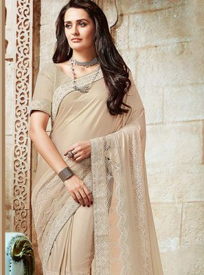 Cream Patch Border Work Net Classic Designer Saree