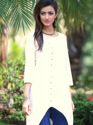 Cream Plain Cotton Casual Kurti