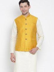 Cream Plain Kurta Payjama With Jacket