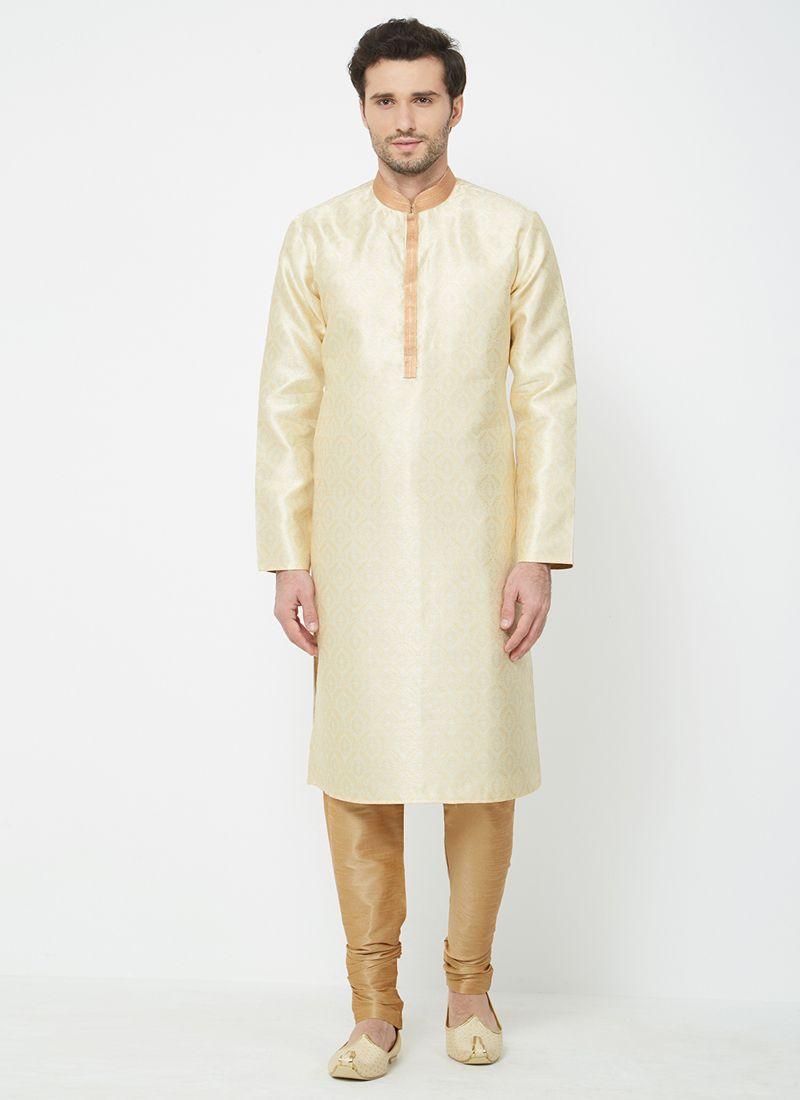 Cream Plain Kurta Pyjama