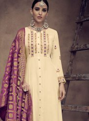 Cream Rayon Readymade Anarkali Suit