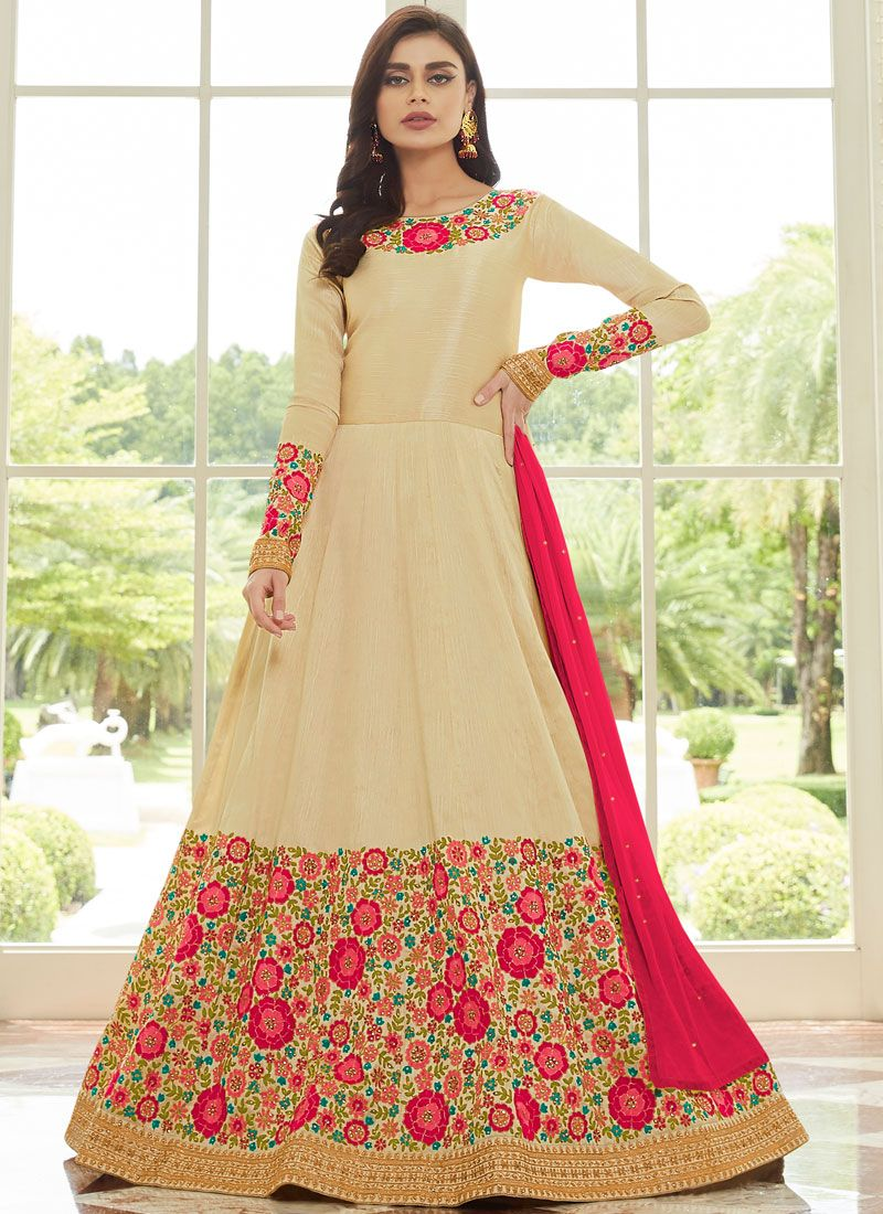 Cream Reception Anarkali Salwar Kameez