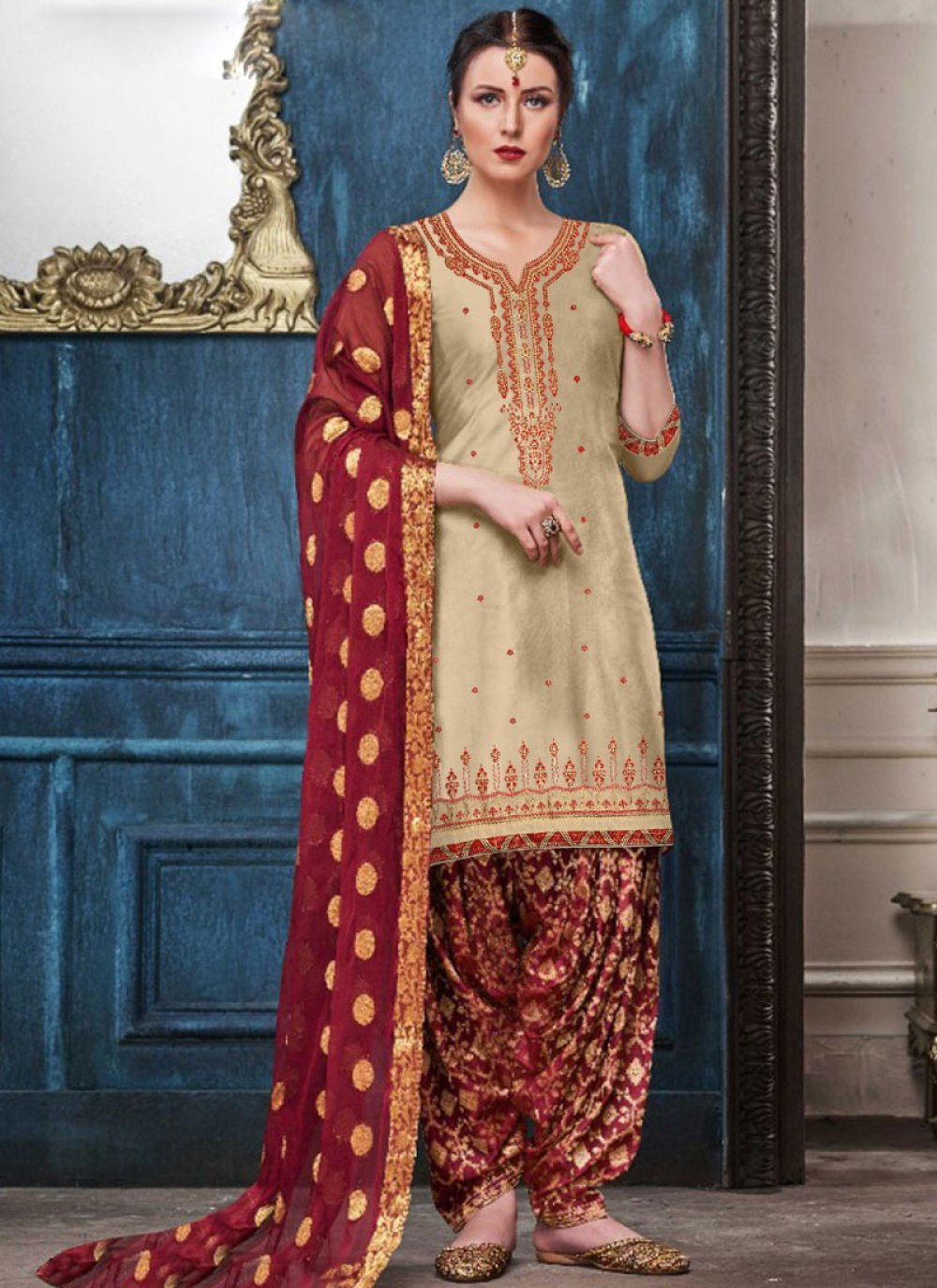 Cream Reception Designer Patiala Suit