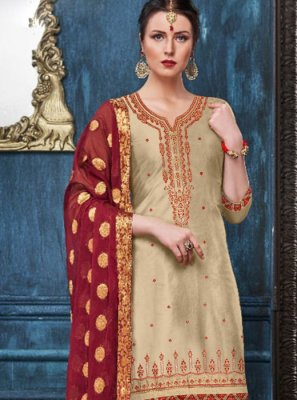 Cream Reception Designer Patiala Suit