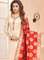 Cream Resham Cotton Silk Designer Straight Suit