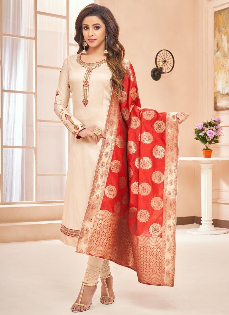 Cream Resham Cotton Silk Designer Straight Suit