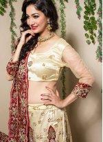 Cream Resham Designer Lehenga Choli