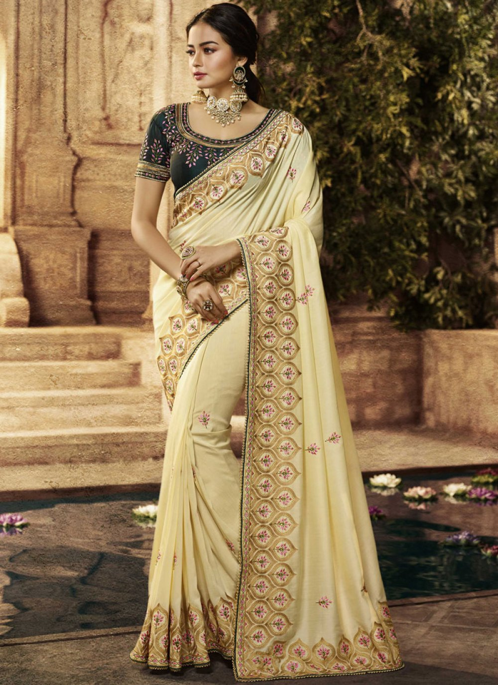 Cream Resham Traditional Designer Saree
