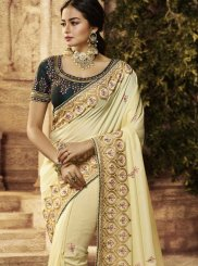 Cream Resham Traditional Designer Saree