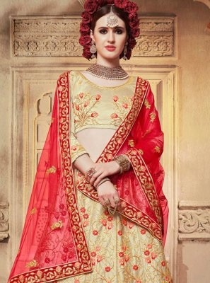 Cream Satin Silk Diamond Designer Lehenga Choli