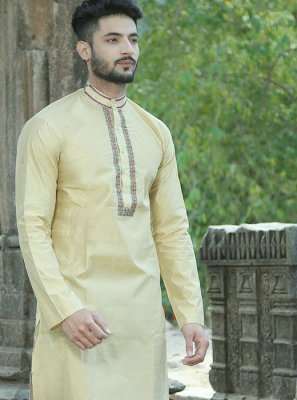 Cream Silk Embroidered Kurta Pyjama