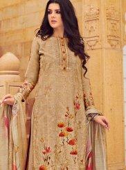 Cream Silk Resham Palazzo Salwar Suit
