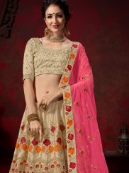 Cream Thread Work Nylon Designer Lehenga Choli