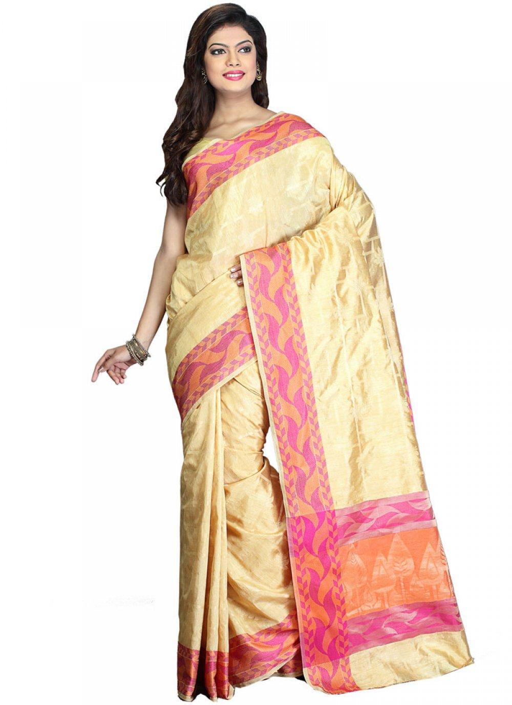 Cream Weaving Art Silk Designer Traditional Saree