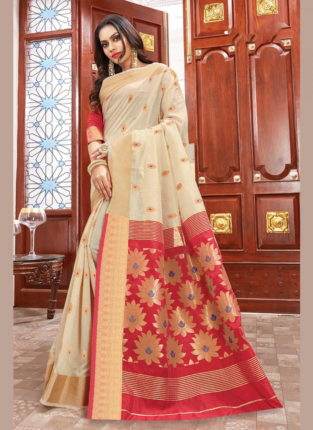 Cream Weaving Cotton Silk Traditional Saree