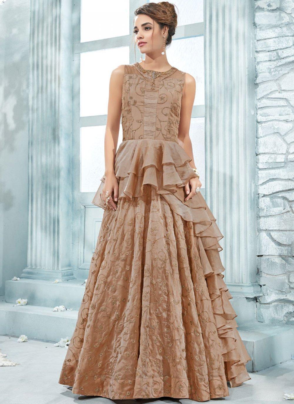 Cream Wedding Art Silk Designer Gown